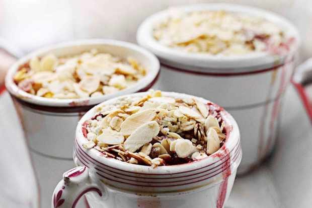 Plum and almond crumbles