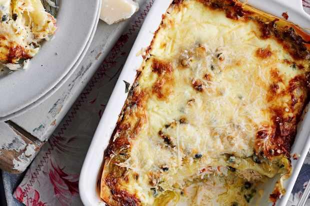 Leek and crab lasagne