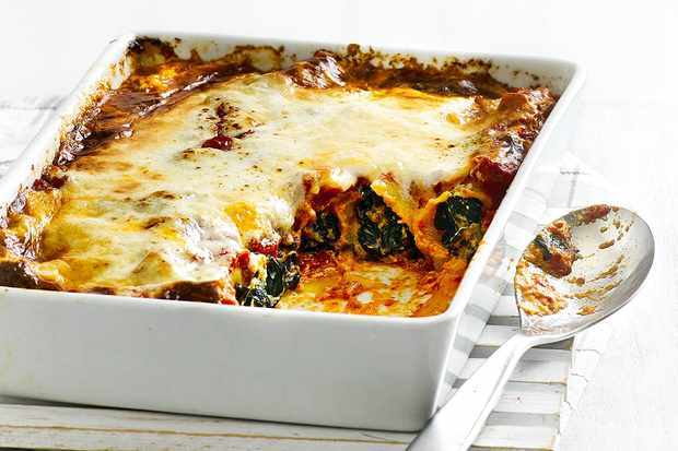 Winter greens and ricotta cannelloni