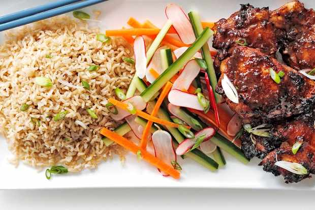 Sesame miso chicken with sweet and sour salad