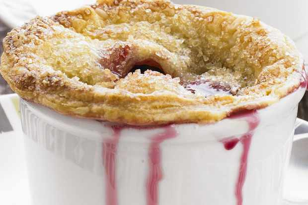 Sugar-crusted cherry pies