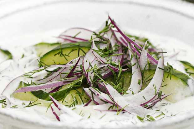 Cucumber with soured cream and dill