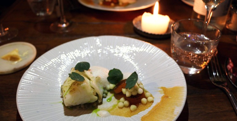 A dish at Benedicts, Norwich with salt-cured North Sea cod loin, pickled swede and compressed apple balls
