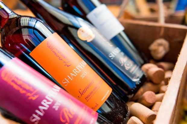 Bottles of wine in a crate at Sharpham Estate Devon