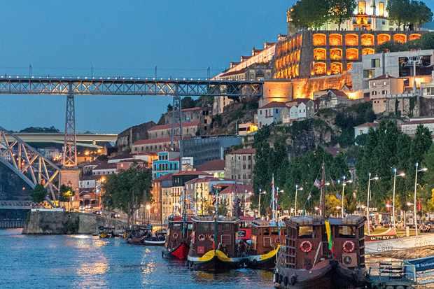 Porto river views at night time