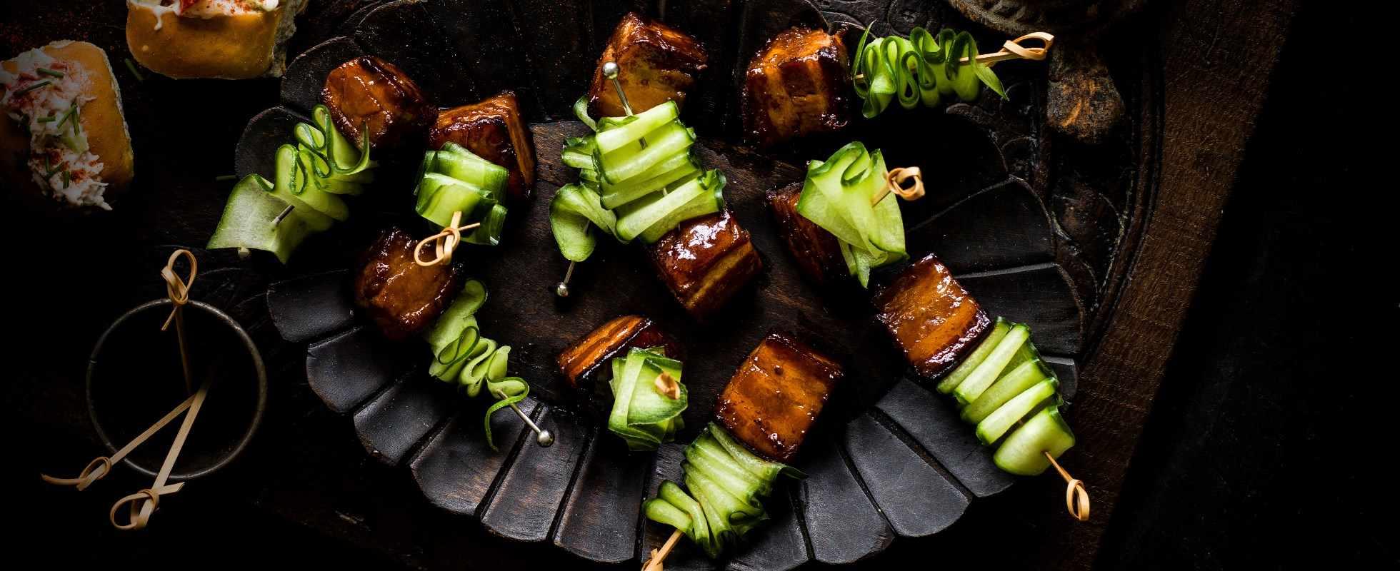 Pork-belly skewers with Vietnamese caramel sauce