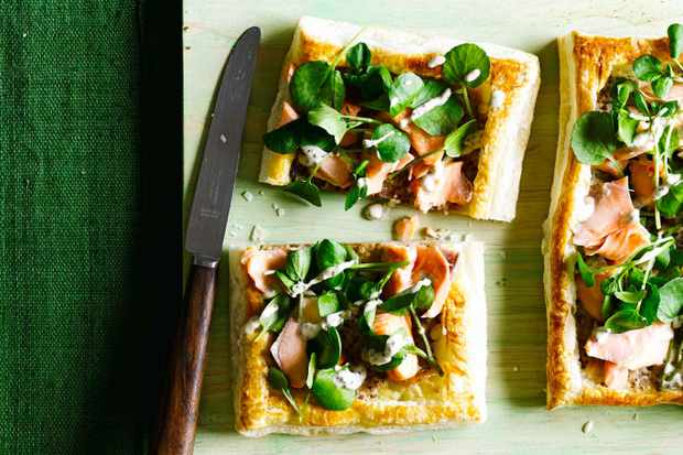 salmon and watercress tartlets