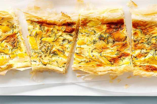 Smoked haddock and dill tart