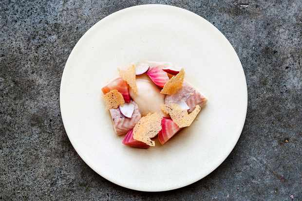 A pretty plate of seared fish and thin wafers at Ellory, London on a simple white plate set against a charcoal background