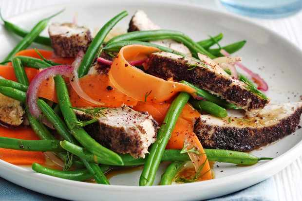 Sumac chicken and green bean salad