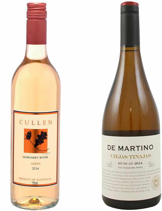 Two bottles of orange wine, one of Cullen and one of De Martino