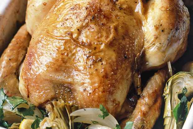 Chicken baked with globe artichokes and lemon