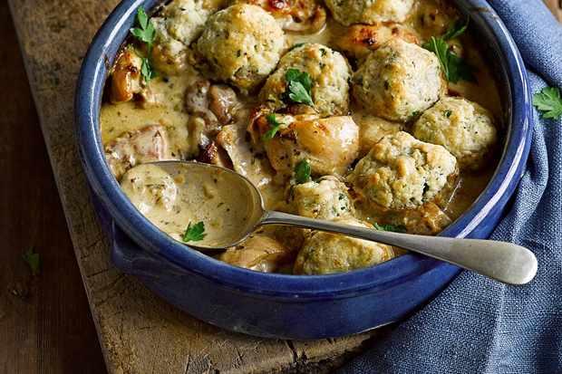 Dijon chicken casserole with buttery herb dumplings