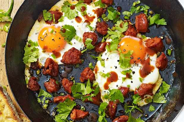 One-pan green chilli eggs with chorizo