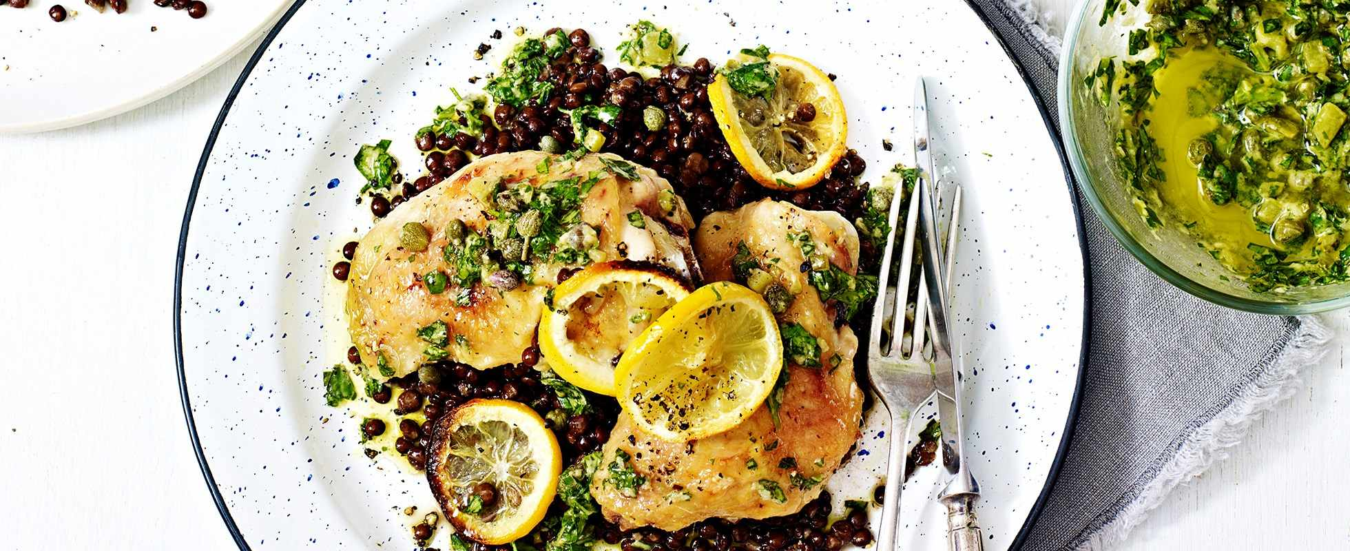 Quick roast chicken and lentils with salsa verde