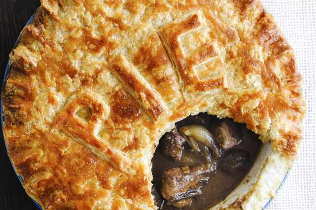 Steak and red wine pie with suet crust