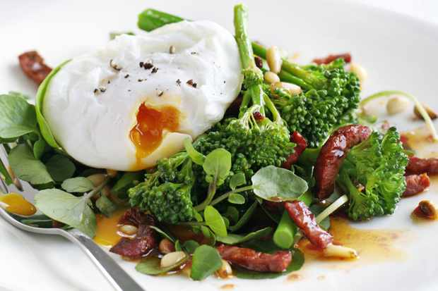 Tenderstem broccoli and chorizo with poached eggs