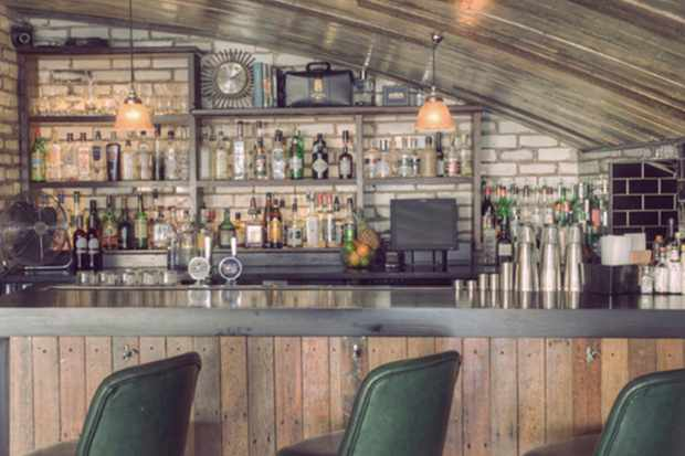 A pale wood bar in an arched room with three green bar stools at the bar