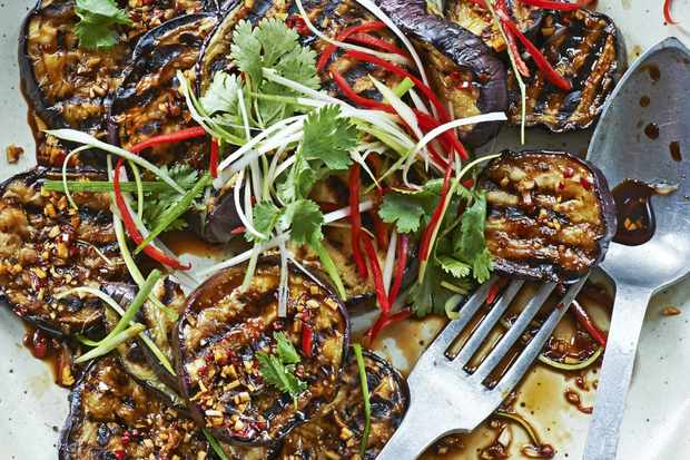 Malay-grilled aubergine with ketjap manis, lime and spring onion