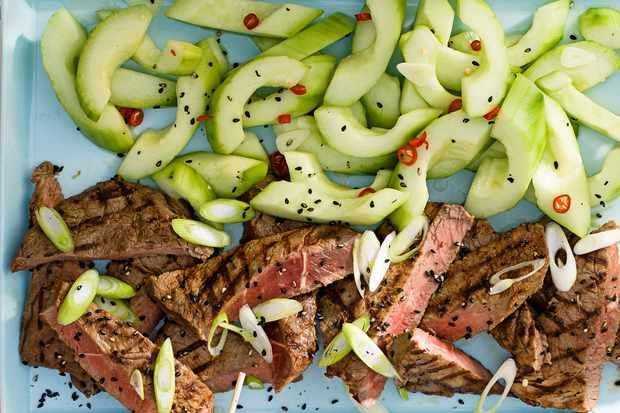Korean-style BBQ steak with cucumber pickles