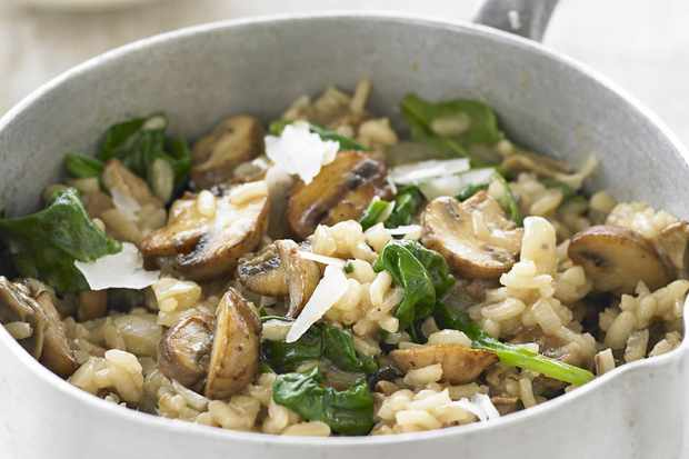 Porcini and spinach risotto