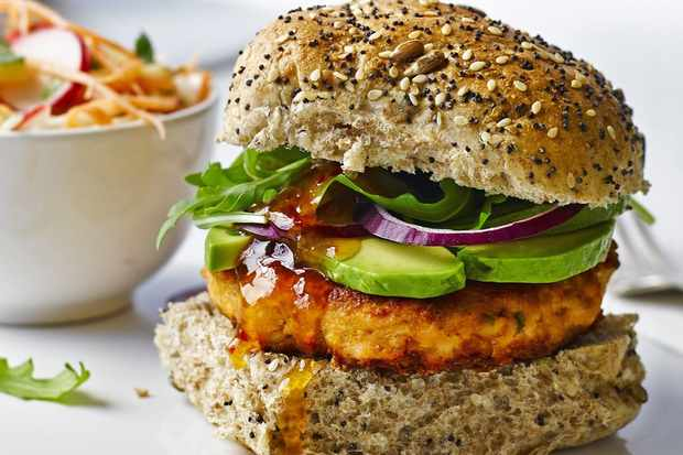 Thai salmon burgers with coriander slaw