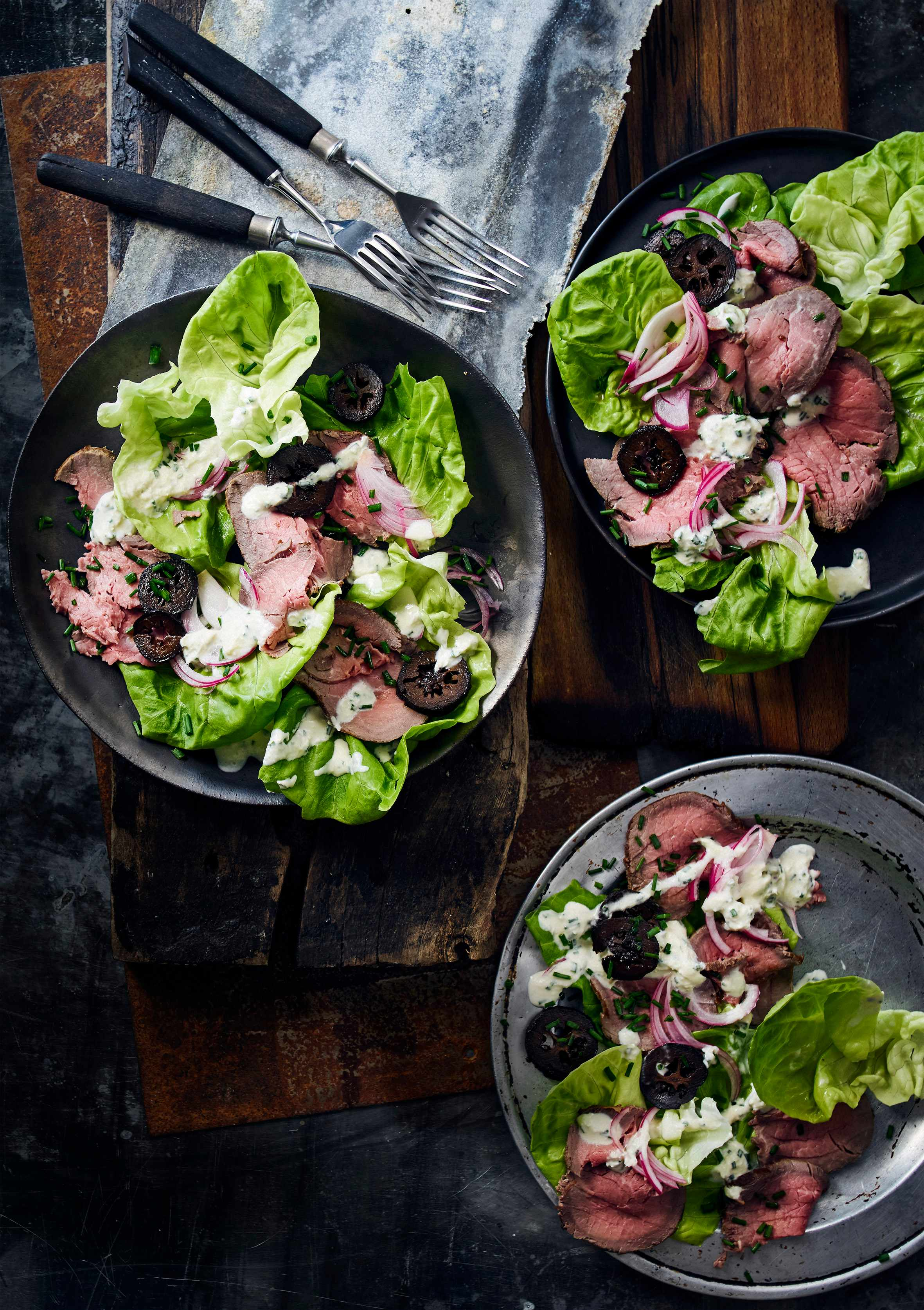 Rare roast beef with horseradish dressing and pickled walnuts