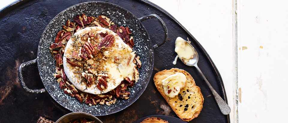 Baked Camembert Recipe With Pecans, Rosemary And Olive Oil Toasts