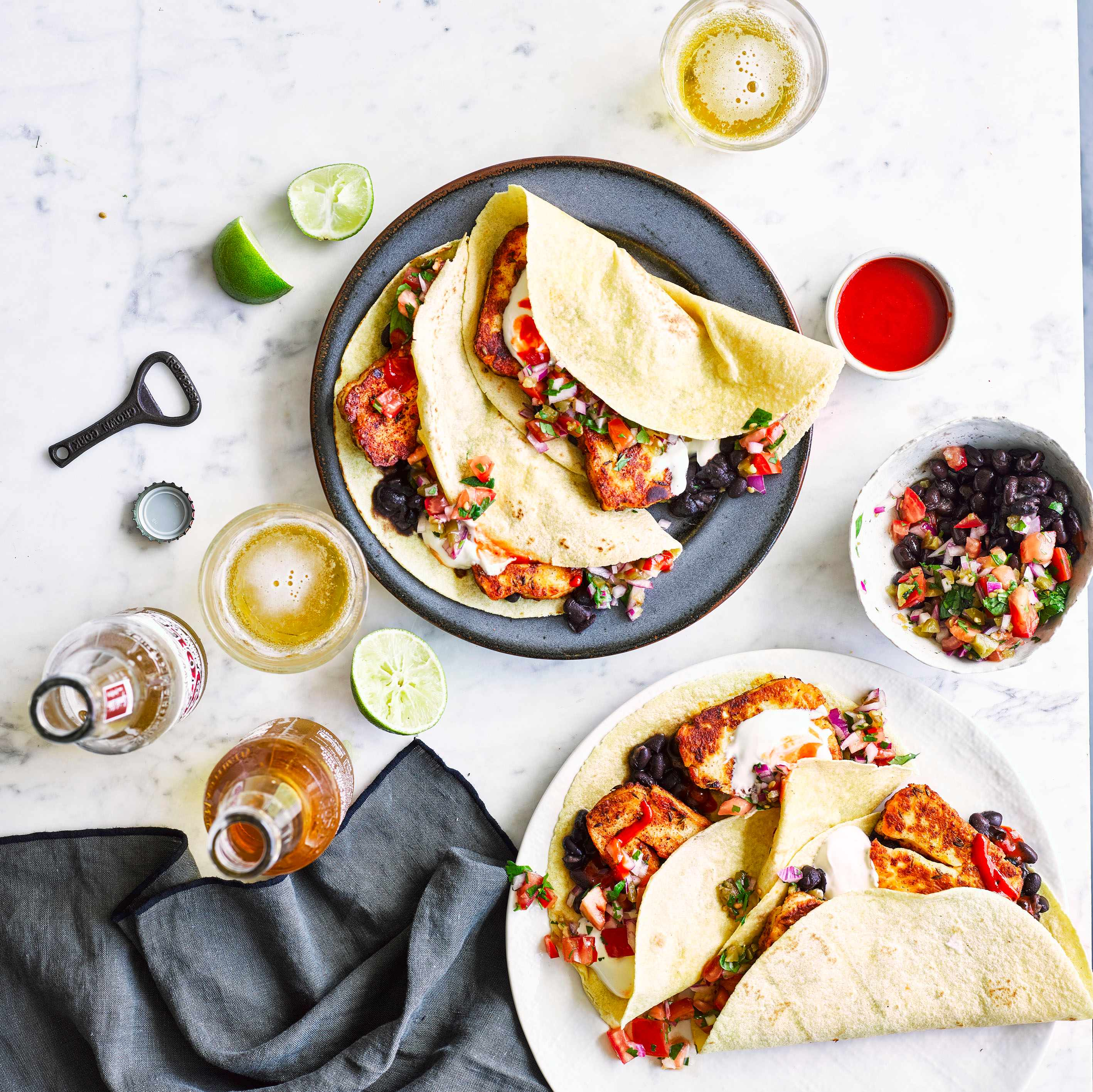 Vegetarian Tacos With Halloumi and Pico De Gallo