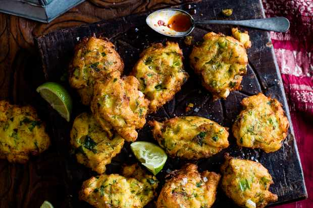 Spiced cod fritters with harissa honey dip fritters