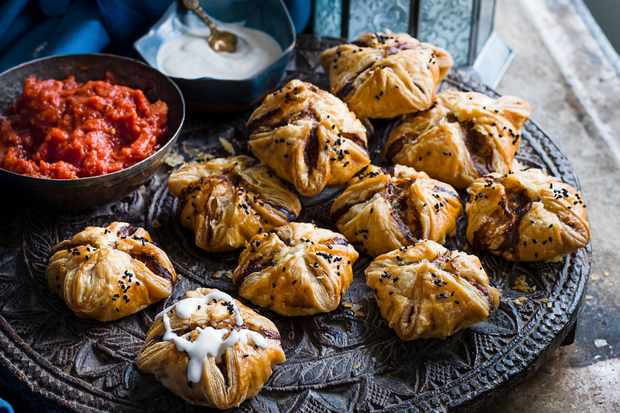 Lamb kofta puffs with tahini and tomato sauce recipe
