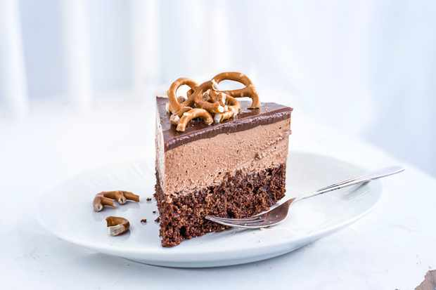 Milk chocolate and malt mousse cake