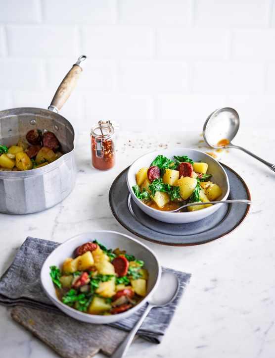 Potato, chorizo and kale stew