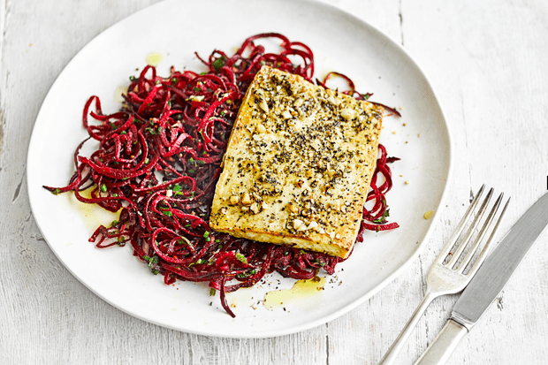 Tofu with beetroot noodles and dukkah