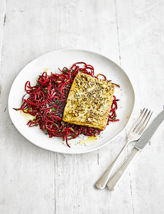Tofu Steak with Beetroot Noodles Recipe