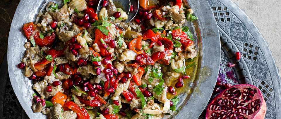 Smoked aubergine and pepper salad with pomegranate molasses
