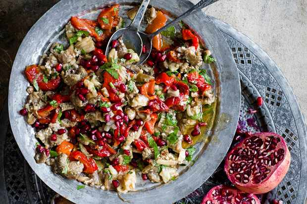 Easy Aubergine Salad Recipe With Pomegranate Molasses