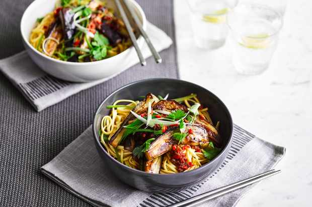 Sweet soy aubergine noodles