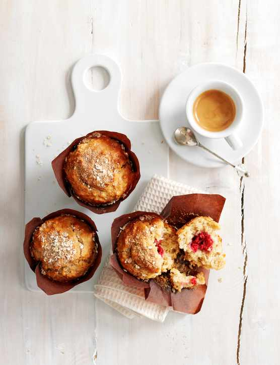 apple and raspberry breakfast muffins
