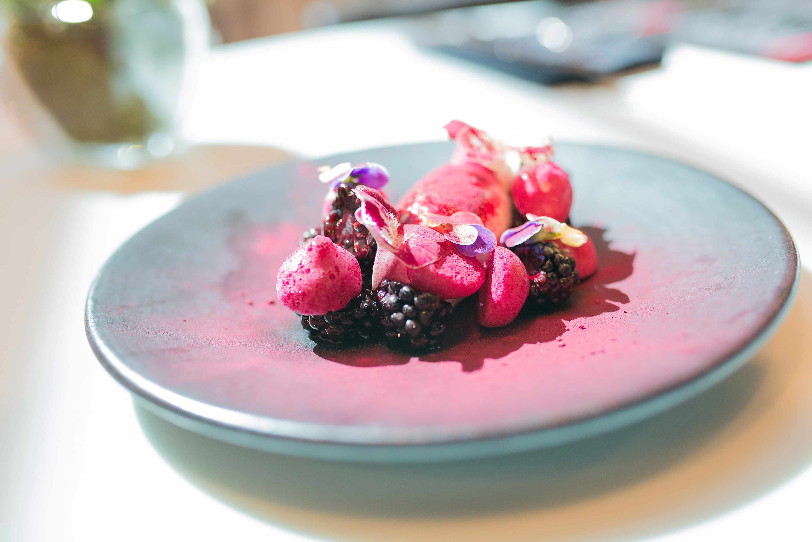 beetroot meringues and lavender-infused crème anglaise from wilderness in Birmingham