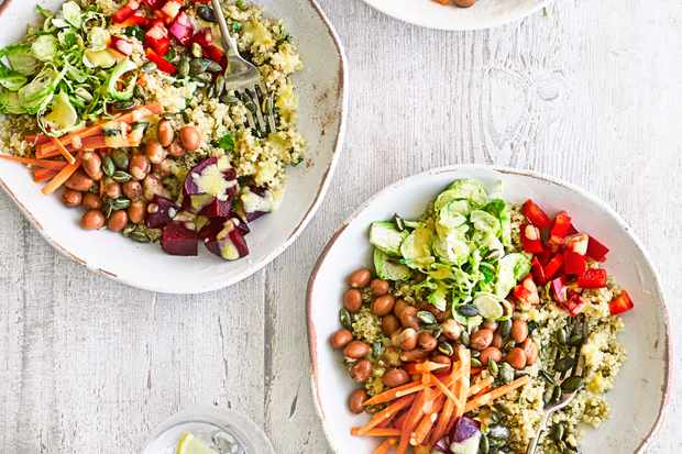 buddha bowls with shredded sprouts and beets - best quinoa recipes