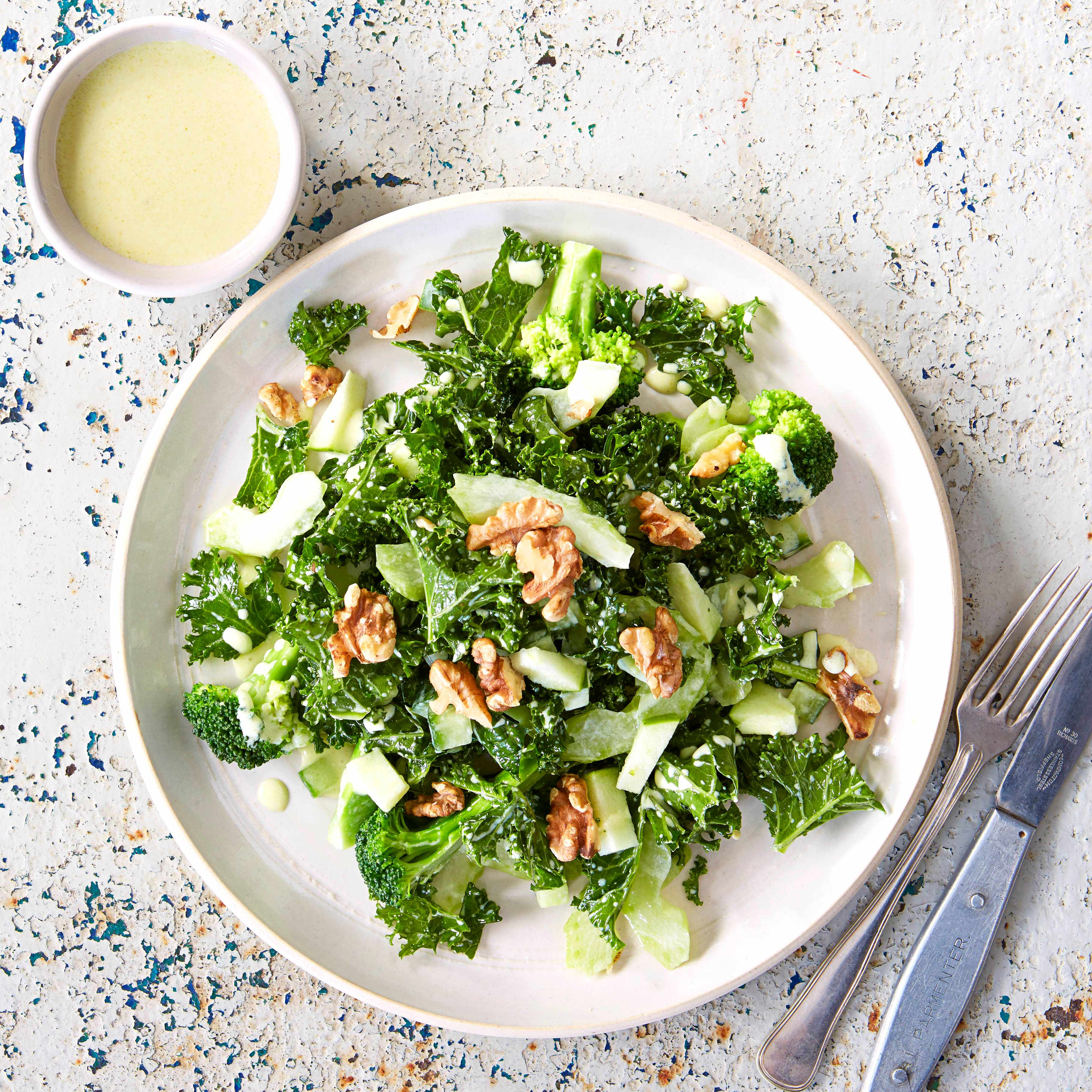 Kale and broccoli emerald salad with kefir dressing