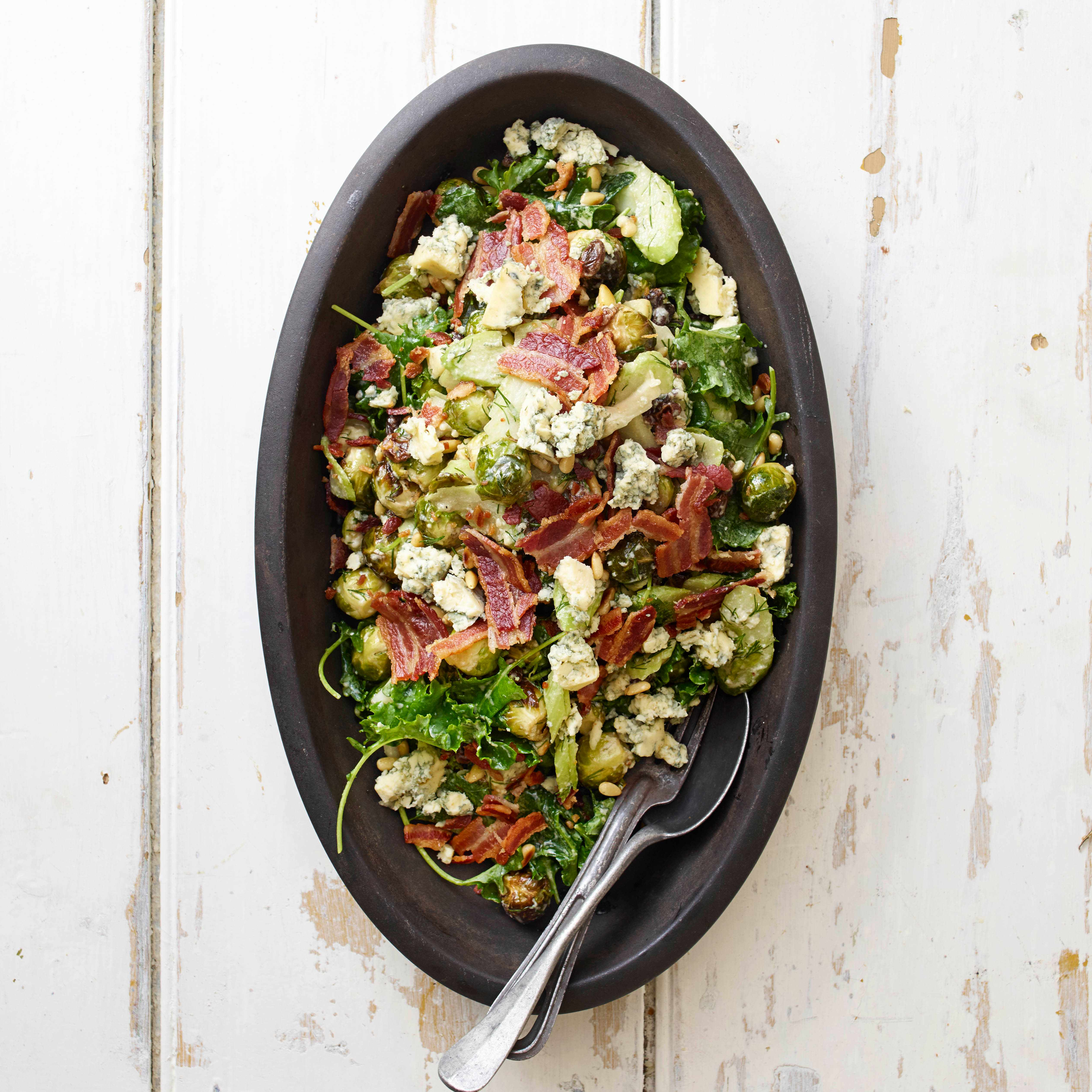 roasted sprout, bacon and blue cheese salad with cider-raisin dressing