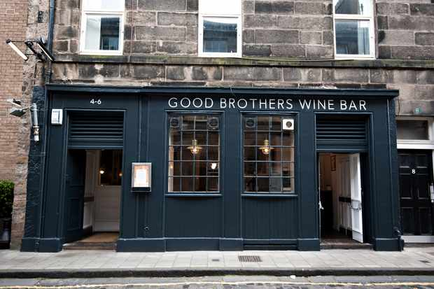 Exterior of Good Brothers wine bar, Edinburgh