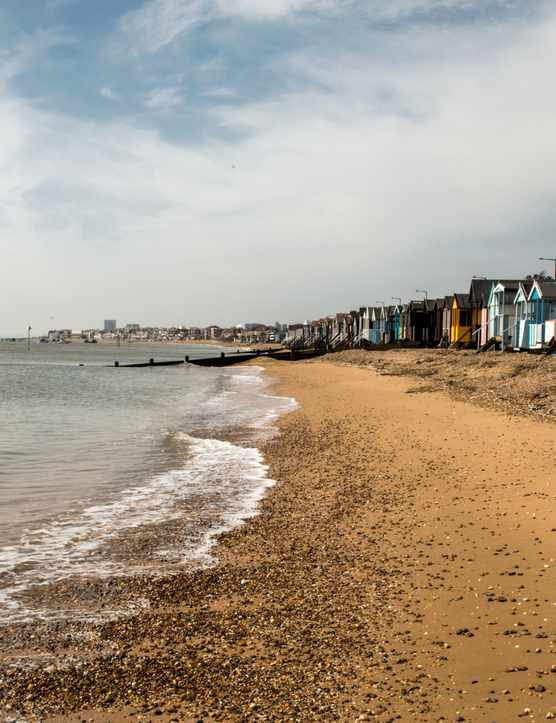 Southend beach with colourful beach shacks