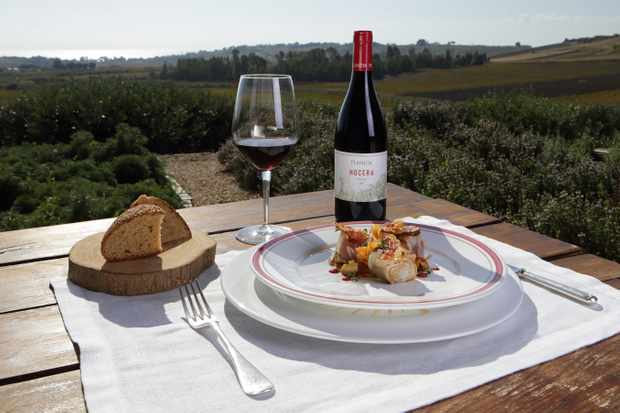 Dinner and a bottle of wine overlooking the vineyards at Planeta Wine Estate, Sicily