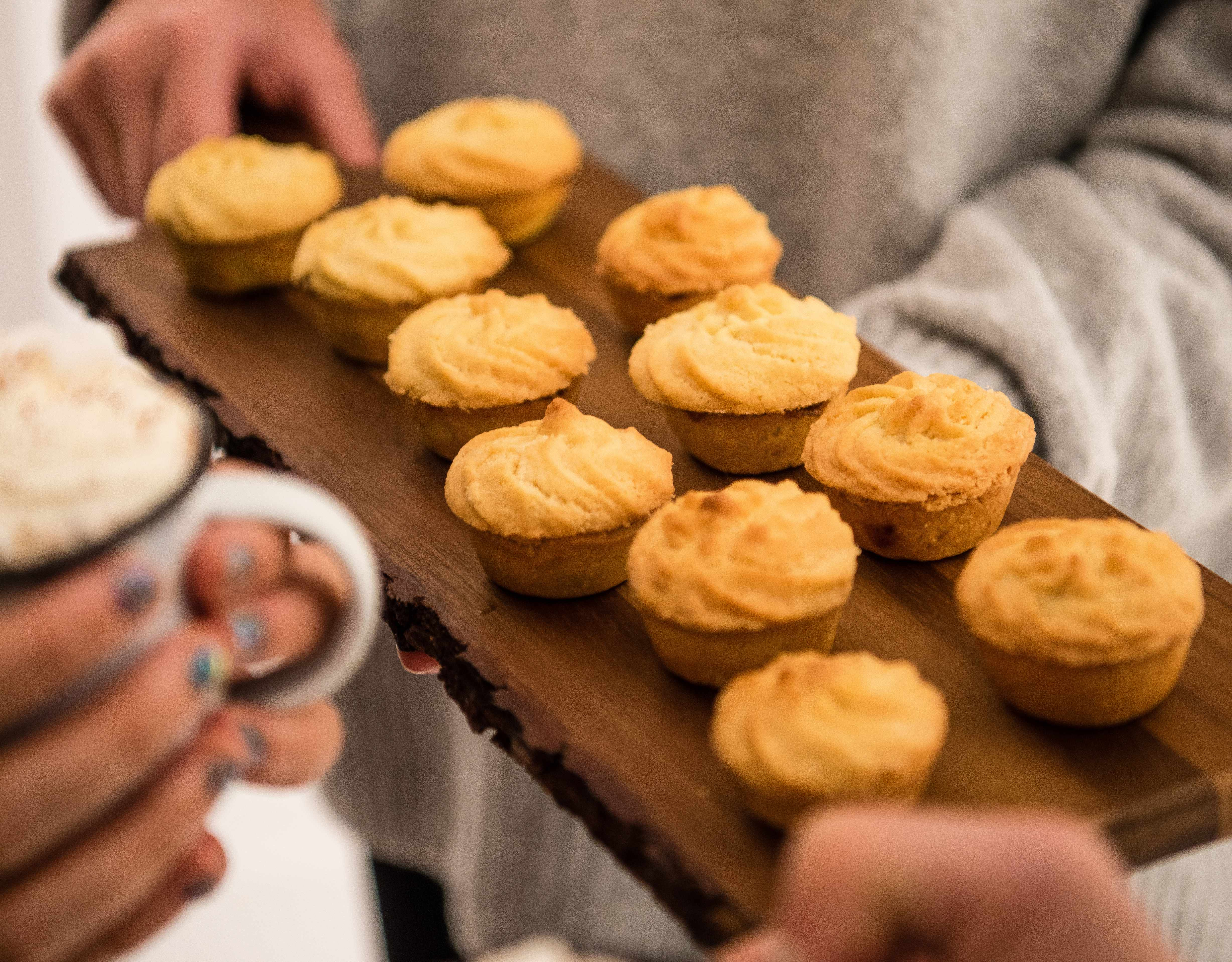 Mini Viennese Mince Pies Recipe - served on a wooden board