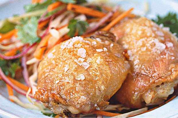 Salt-roast chicken with spiced carrot coleslaw