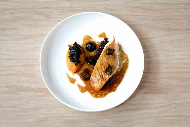 fillet-of-john-dory-with-crushed-butternut-black-rice-pickled-walnuts-trompettes-and-sage
