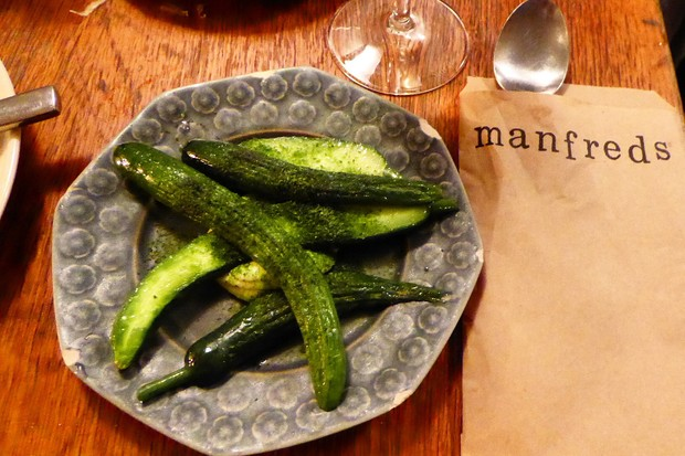 A plate of baby cucumbers at Manfreds in Copenhagen